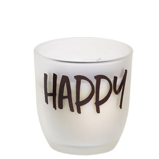 Mat theelicht 'HAPPY'