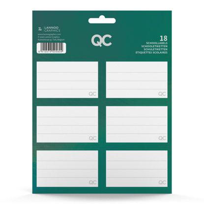 Schooletiketten QC sparkle groen