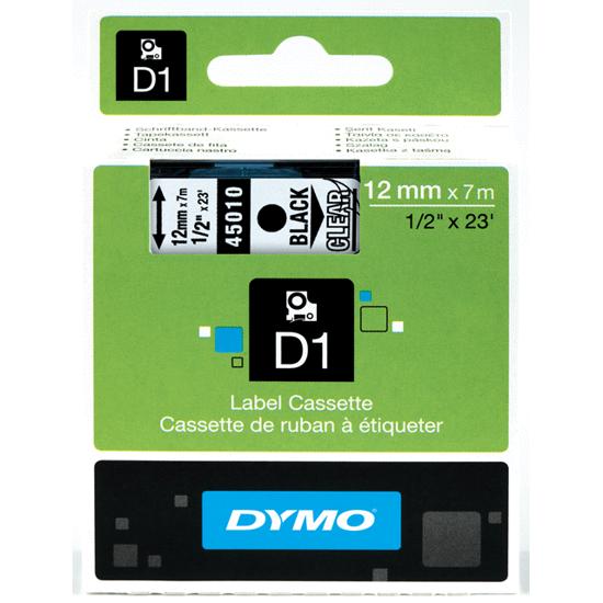 Dymo tape zwart/transparant