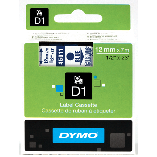 Dymo tape blauw/transparant