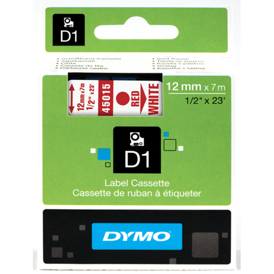 Dymo tape rood/wit