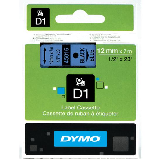 Dymo tape zwart/blauw
