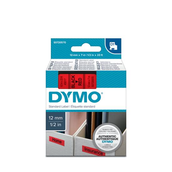 Dymo tape zwart/rood