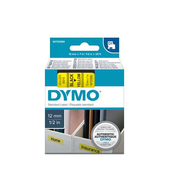 Dymo tape zwart/geel