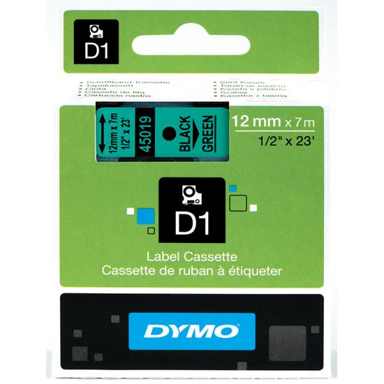 Dymo tape zwart/groen