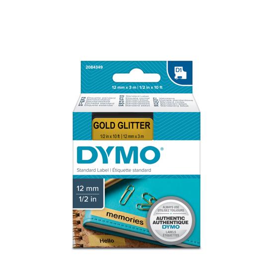 Dymo tape D1, 12mm x 3m, zwart/goud