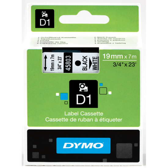 Dymo tape D1, 19mm x 7m, zwart/wit