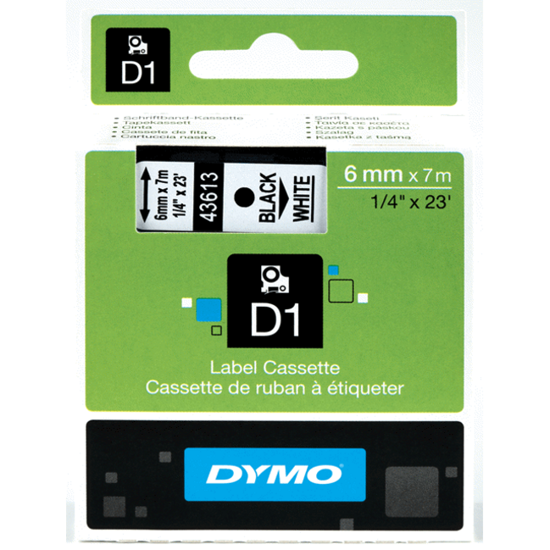 Dymo tape D1, 6mm x 7m, zwart/wit