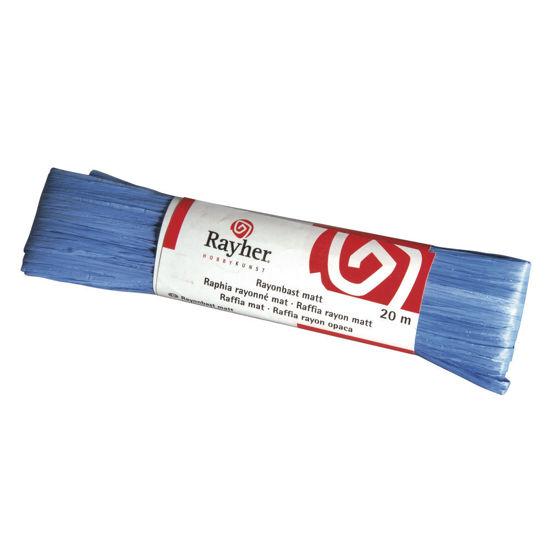 Raffia, mat donker blauw, doorlopende draad van 20 meter