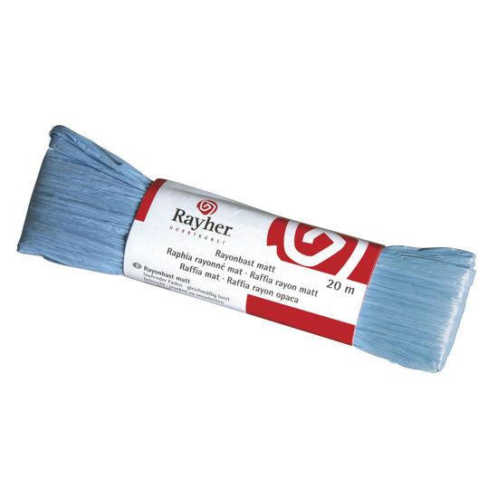 Raffia, mat licht blauw, doorlopende draad van 20 meter