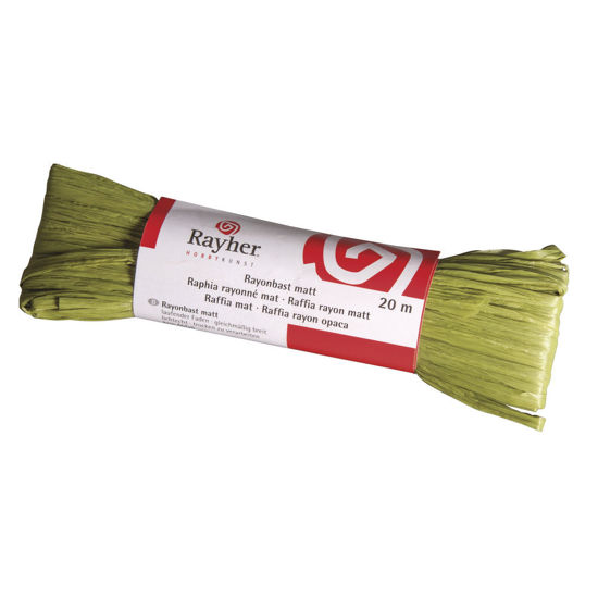 Raffia, mat olijfgroen, doorlopende draad van 20 meter