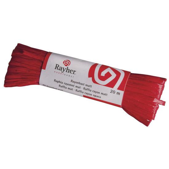 Raffia, mat rood, doorlopende draad van 20 meter
