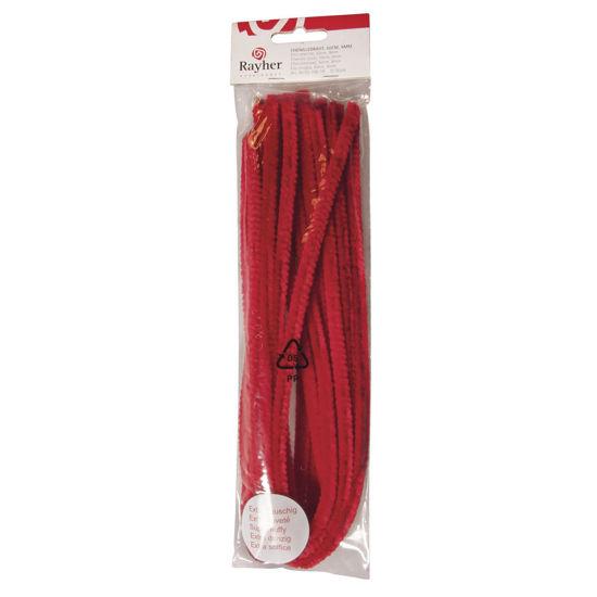 Chenilledraad rood 50 cm, dikte 9 mm - 10 stuks