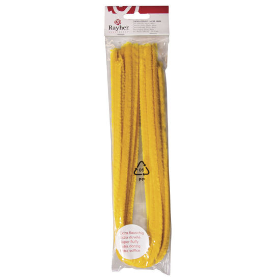 Chenilledraad geel 50 cm, dikte 9 mm - 10 stuks