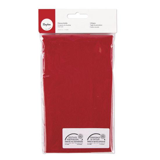 Viltlapjes, licht rood, 20x30 cm, 0,8-1mm dik, zak 2 lappen