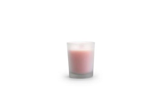 kaars mini roze mat glas