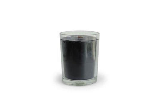 Kaars medium zwart helder glas